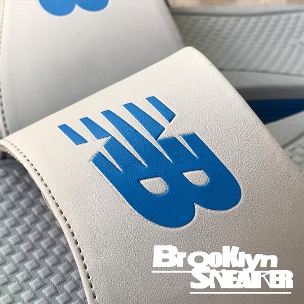 NEW BALANCE 灰藍 拖鞋 大LOGO 男 (布魯克林) M3068GBL