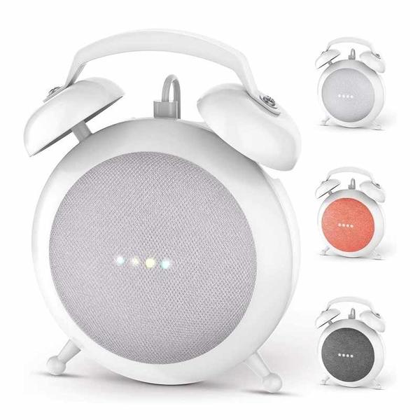 Google Home Mini支復古鬧鐘造型 支架 兼容Google Home Mini/Nest Mini 黑/白 [2美國直購]