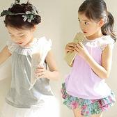 夏季女童甜美無肩袖花邊蕾絲上衣~韓單品牌~淺紫色.灰色~中小童