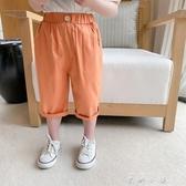 男童休閒褲帥氣時髦褲子小男孩單褲兒童彈力韓版七分褲長褲 米娜小鋪