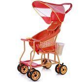 仿藤推車 寶寶手推車 仿竹藤兒童車嬰兒藤編推車輕便萬向輪  萌萌小寵igo