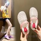 涼鞋女年新款夏季涼拖女防滑柔軟塑料水晶洞洞鞋平底沙灘拖鞋 魔法鞋櫃