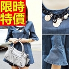 牛仔洋裝長袖-有型造型流行單寧女裙子1色61v2【巴黎精品】