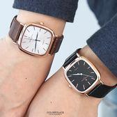范倫鐵諾˙古柏 玫金方形皮革錶NEV70