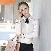 美之札[YS-7057-PF]經典滾邊娃娃領OL長袖襯衫上衣(附黑領結)~秋冬新款~
