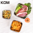 KOM-日式萬用不鏽鋼保鮮盒-正方型三件...