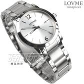 LOVME 簡約數字風格品味 藍寶石抗磨水晶玻璃 不銹鋼帶 男錶 白色 日期顯示窗 VS3190M-2S-221