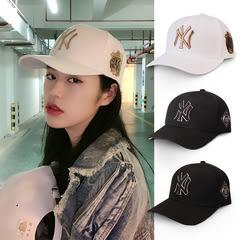 棒球帽男女夏季刺繡NY韓版帽鴨舌帽可調節太陽帽 巴黎時尚