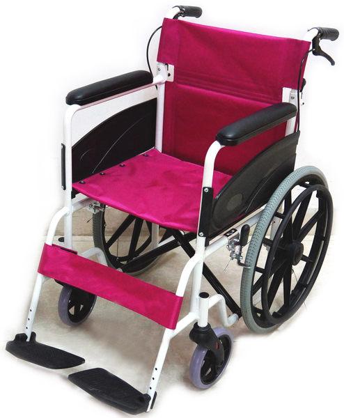 鋁合金輪椅 輕量型輪椅 可折背 18吋座寬桃紅色