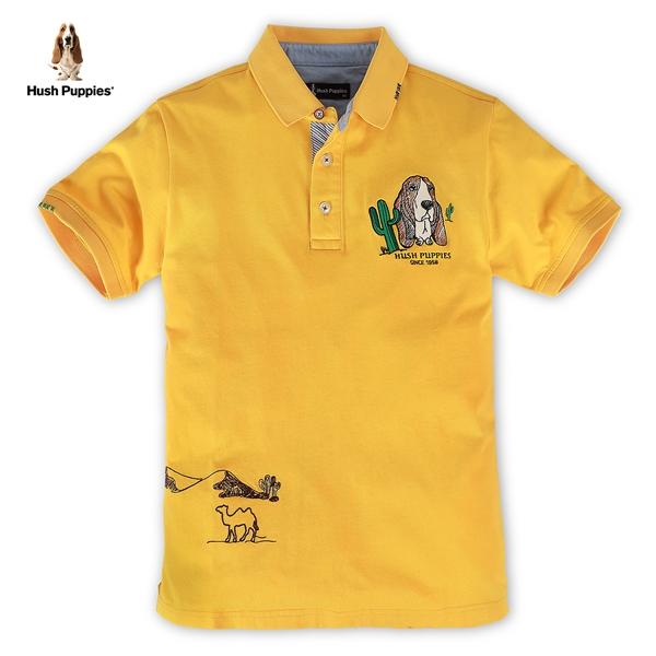 Hush Puppies POLO衫 男裝塗鴉刺繡線條狗短袖POLO衫
