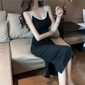 長裙法式復古吊帶連身裙女夏2020新款冷淡風chic心機小黑裙長裙開叉裙城市