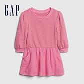 Gap女幼童 甜美風格愛心圓領長袖洋裝 599931-粉紅色