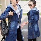 牛仔風衣韓版連帽寬鬆chic女裝學生bf中長款外套女潮  『魔法鞋櫃』