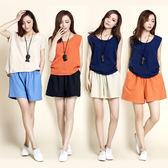 【NUMI】森-高腰寬鬆抽帶棉麻風短褲-共8色(M-2XL可選)      50960