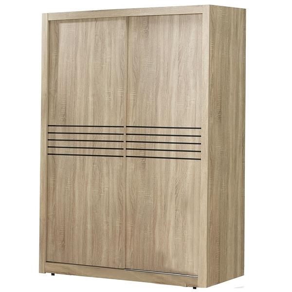 【森可家居】喬治5X7尺梧桐推門衣櫃 7JF048-4 衣櫥 木紋質感  衣物收納 MIT