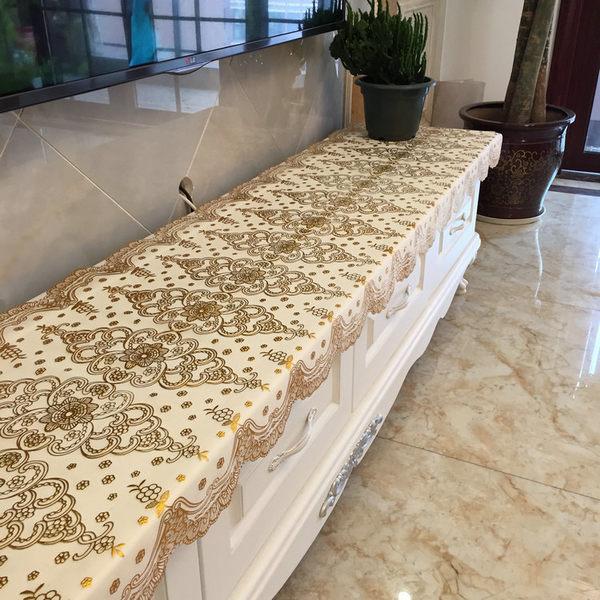 電視機櫃桌布餐邊櫃桌布墊床頭櫃長方形歐式蕾絲客廳家用88折,明天恢復原價