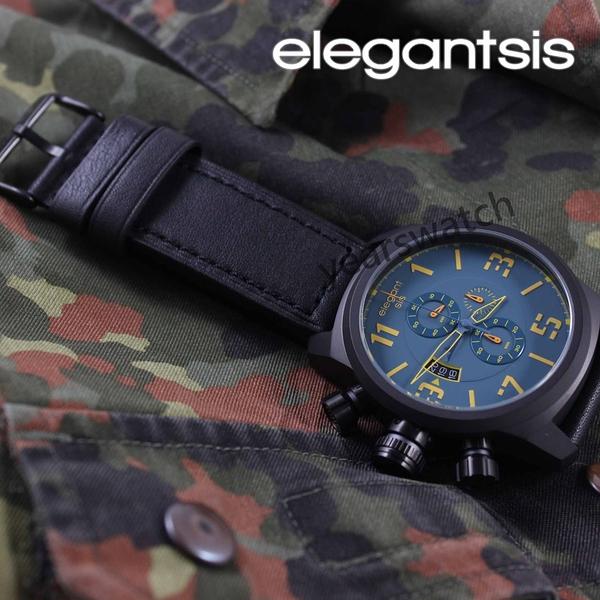 【萬年鐘錶】elegantsis特戰三軍 潛水艇圖騰  三環皮革  灰x海軍藍  ELJT48-OU08LC