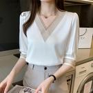 中袖上衣女七分袖t恤2021年新款春夏季寬鬆女人味氣質輕熟雪紡衫 百分百