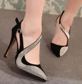 高跟涼鞋女 韓版女鞋子 歐美夜店超高跟走秀明星時尚水鑽單鞋高跟鞋【多多鞋包店】ds3941