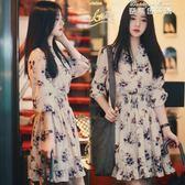 春季新款碎花雪紡洋裝女夏韓版收腰短款小個子超仙女裙 麥琪精品屋