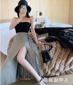 高腰開叉性感半身裙女2020春夏新款蝴蝶結系帶a字裙一片式長裙子CH202【棉花糖伊人】
