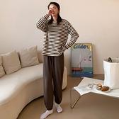 居家服.休閒條紋長袖上衣+舒適素面長褲.白鳥麗子