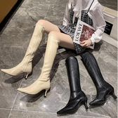 過膝靴 尖頭細跟彈力瘦瘦靴高跟鞋女2020年新款高筒靴長靴騎士靴不過膝靴