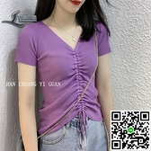 V領短袖冰絲針織衫t恤女夏季新款抽繩系帶修身緊身時尚短款上衣潮【風之海】