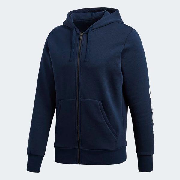 ADIDAS ESS LIN FZHOODB 男裝 外套 連帽 休閒 慢跑 舒適 棉質 藍【運動世界】BQ9639