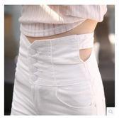 春夏韓版白色高腰排扣緊身短褲女彈力顯瘦大碼性感熱褲女【販衣小築】