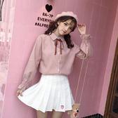 女襯衣2019年新款韓版很仙的春季上衣女學生可愛洋氣蝴蝶結白襯衫