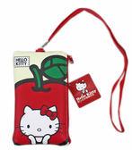 ~卡漫城~Hello Kitty 觸控手機袋蘋果皮革㊣版拉鍊吊繩萬用智慧型手機化妝包錢包收