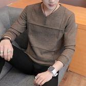 男士毛衣2018秋季新款V領毛衣男韓版潮流修身男士針織衫青年長袖上衣外套