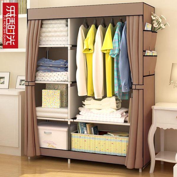 簡易衣櫃布藝布衣櫃鋼架單人衣櫥組裝雙人收納櫃子簡約現代經濟型 智能生活館