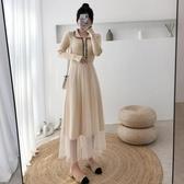 針織毛衣裙連體毛衣長款修身拼接網紗打底連身裙