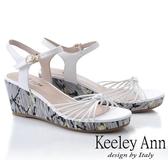2019春夏_Keeley Ann細條帶 細帶鞋面花紋側邊楔型鞋(白色) -Ann系列