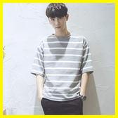 夏季百搭日系條紋寬鬆韓版中7七分袖五分學生短袖t恤潮流衣服男裝