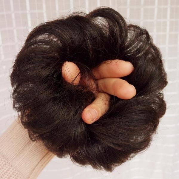 丸子頭 全真人發假髮發圈 捲髮丸子頭假髮包 半丸子頭花苞頭捲髮圈發髻