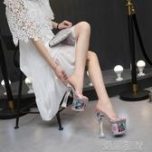 走秀高跟鞋恨天高粗跟鞋女拖鞋18cm公分超高跟性感涼拖走秀水晶透明拖鞋夏 快速出貨