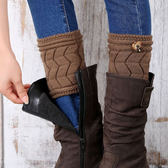 襪套 護腿套 雙層加厚保暖W形鈕扣毛線針織 - 6色【Ann梨花安】