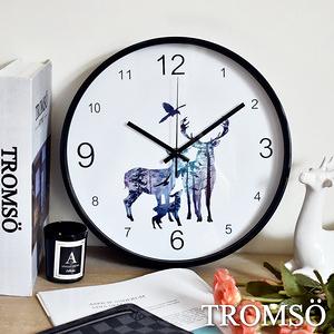 TROMSO北歐黑邊時尚靜音時鐘黑邊麋鹿家庭
