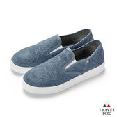 TRAVEL FOX(女) 壓紋舒適休閒懶人鞋-藍