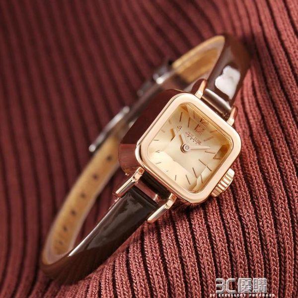 前任3林佳同款方形女錶聚利時韓版學生皮帶復古小方糖手錶女HM 【中秋全館免運】