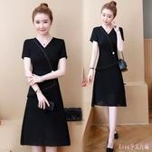 大碼OL洋裝 夏季短袖胖mm黑色A字連身裙女裝新款假兩件中長款雪紡裙 HT19646