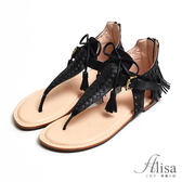專櫃女鞋 波西米亞流蘇夾腳涼鞋@- 艾莉莎Alisa【7616391】黑色下標區