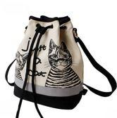 花兔子服飾兩隻貓咪水桶後背側背包