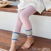 韓版春秋兒童打底褲薄款女童外穿褲潮童裝拼接九分連褲襪寶寶褲襪  深藏blue