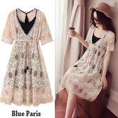 藍色巴黎 ★ 氣質款幾何圖型雕花網紗兩件式洋裝 / 連身裙 (附小可愛)《2色》【28388】