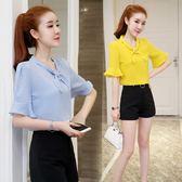 休閒套裝 新款時尚套裝女潮寬鬆氣質雪紡衫洋氣短褲兩件套LJ9705『miss洛羽』