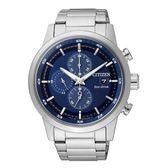 CITIZEN 簡約質感光動能時尚腕錶/藍面/CA0610-52L